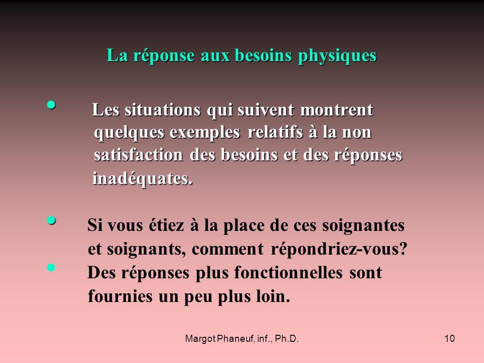 Margot Phaneuf, inf., Ph.D.10 La réponse aux besoins physiques La réponse aux besoins physiques Les situations qui suivent montrent quelques exemples