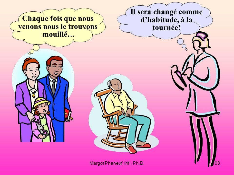 Margot Phaneuf, inf., Ph.D.103 Chaque fois que nous venons nous le trouvons mouillé… Il sera changé comme dhabitude, à la tournée!