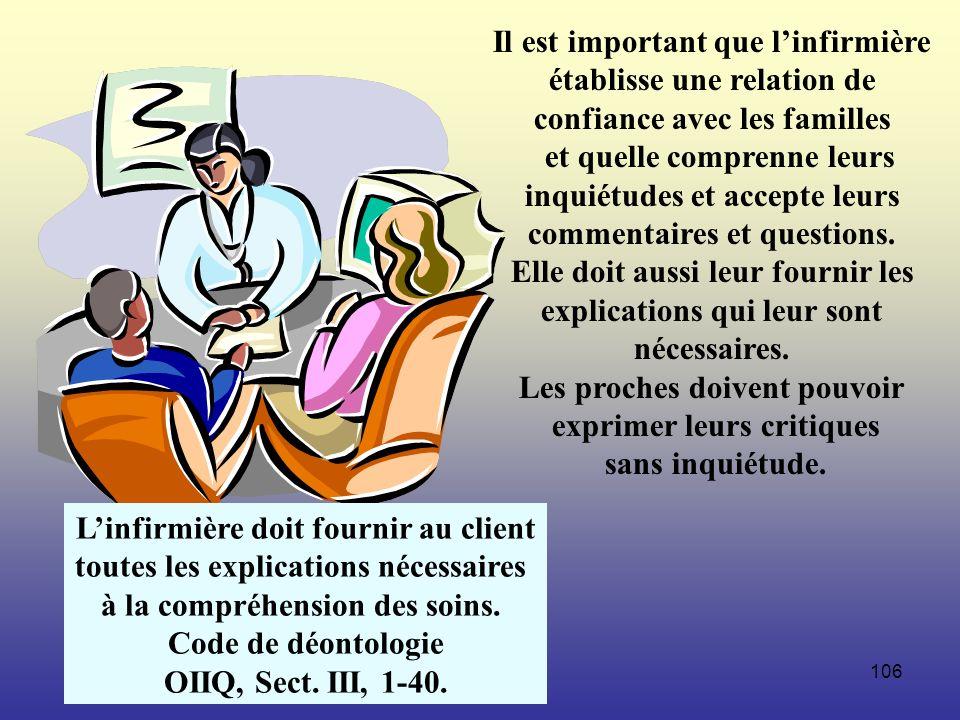 106 Il est important que linfirmière établisse une relation de confiance avec les familles et quelle comprenne leurs inquiétudes et accepte leurs comm