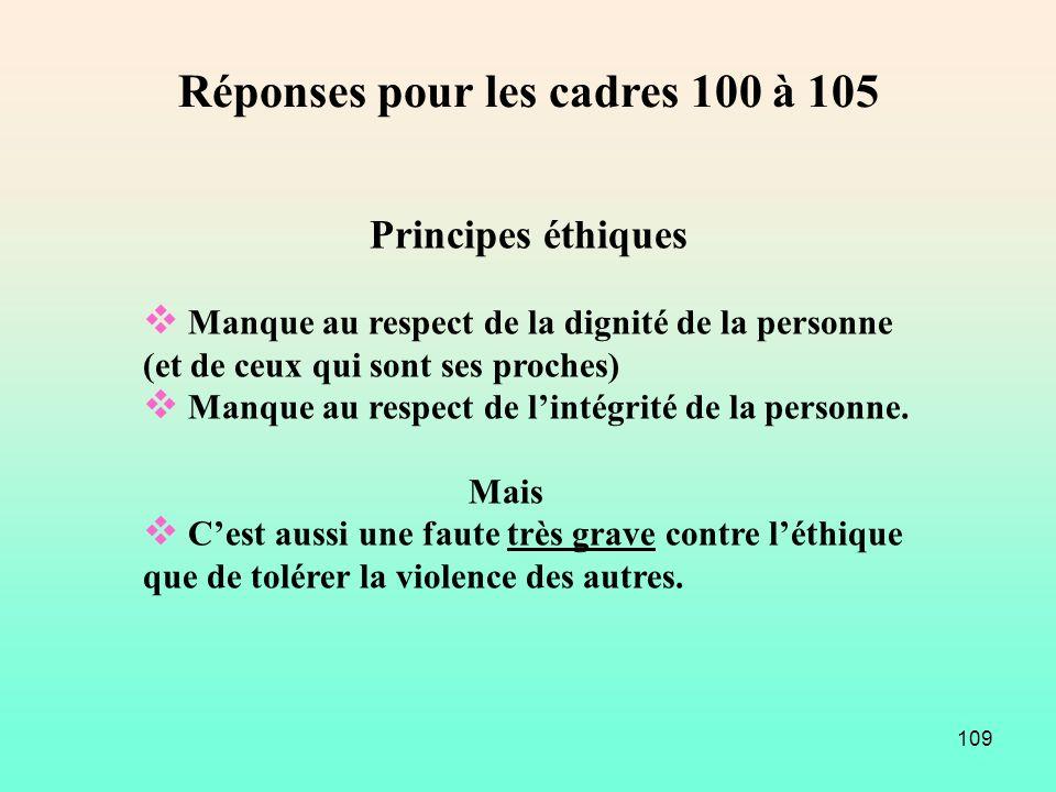 109 Principes éthiques Manque au respect de la dignité de la personne (et de ceux qui sont ses proches) Manque au respect de lintégrité de la personne