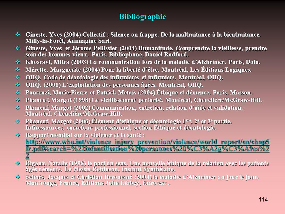 114 Bibliographie Gineste, Yves (2004) Collectif : Silence on frappe. De la maltraitance à la bientraitance. Milly-la-Forêt, Animagine Sarl. Gineste,
