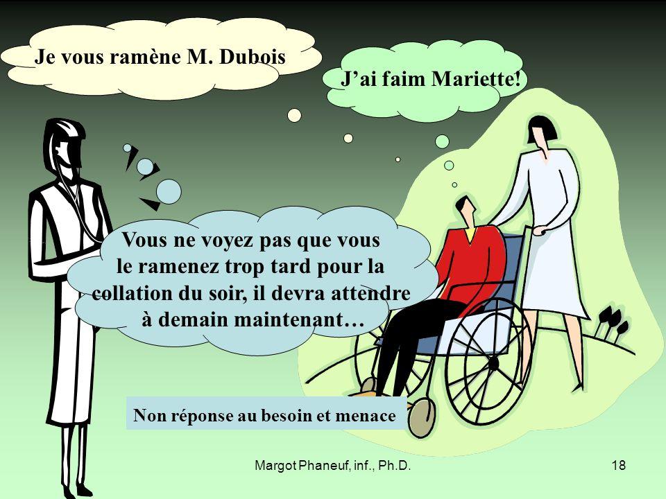 Margot Phaneuf, inf., Ph.D.18 Vous ne voyez pas que vous le ramenez trop tard pour la collation du soir, il devra attendre à demain maintenant… Jai fa