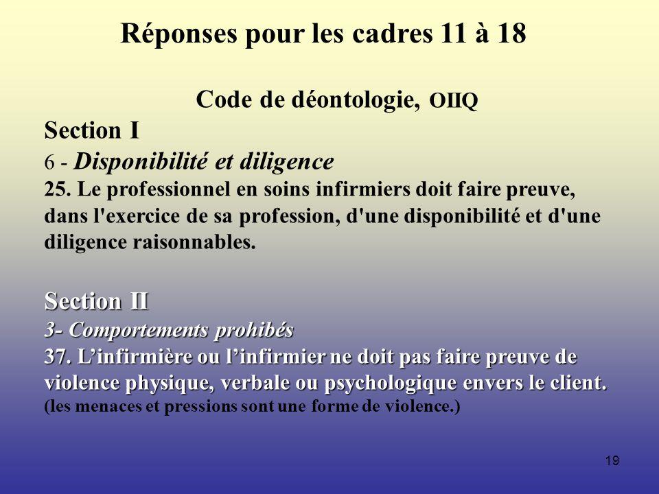 19 Code de déontologie, OIIQ Section I 6 - Disponibilité et diligence 25. Le professionnel en soins infirmiers doit faire preuve, dans l'exercice de s