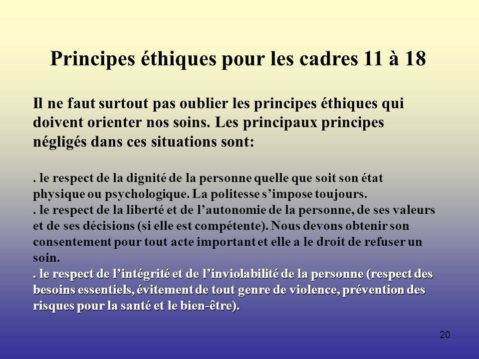 20 Principes éthiques pour les cadres 11 à 18 Il ne faut surtout pas oublier les principes éthiques qui doivent orienter nos soins. Les principaux pri