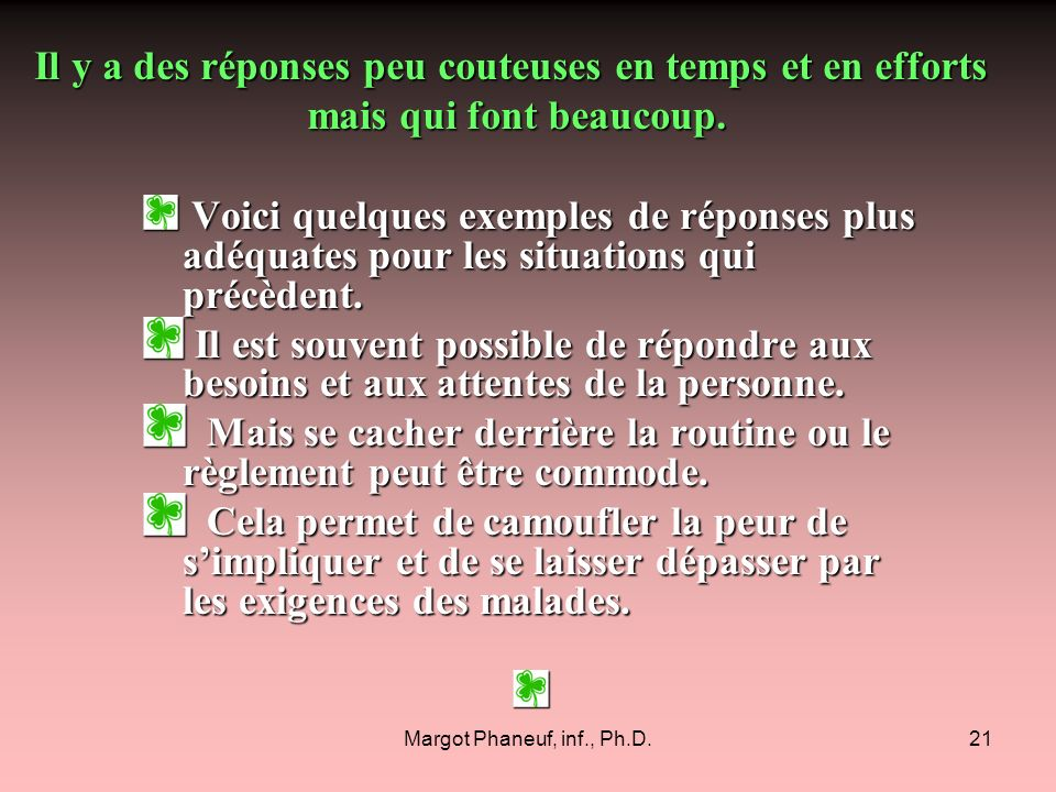 Margot Phaneuf, inf., Ph.D.21 Voici quelques exemples de réponses plus adéquates pour les situations qui précèdent. Voici quelques exemples de réponse