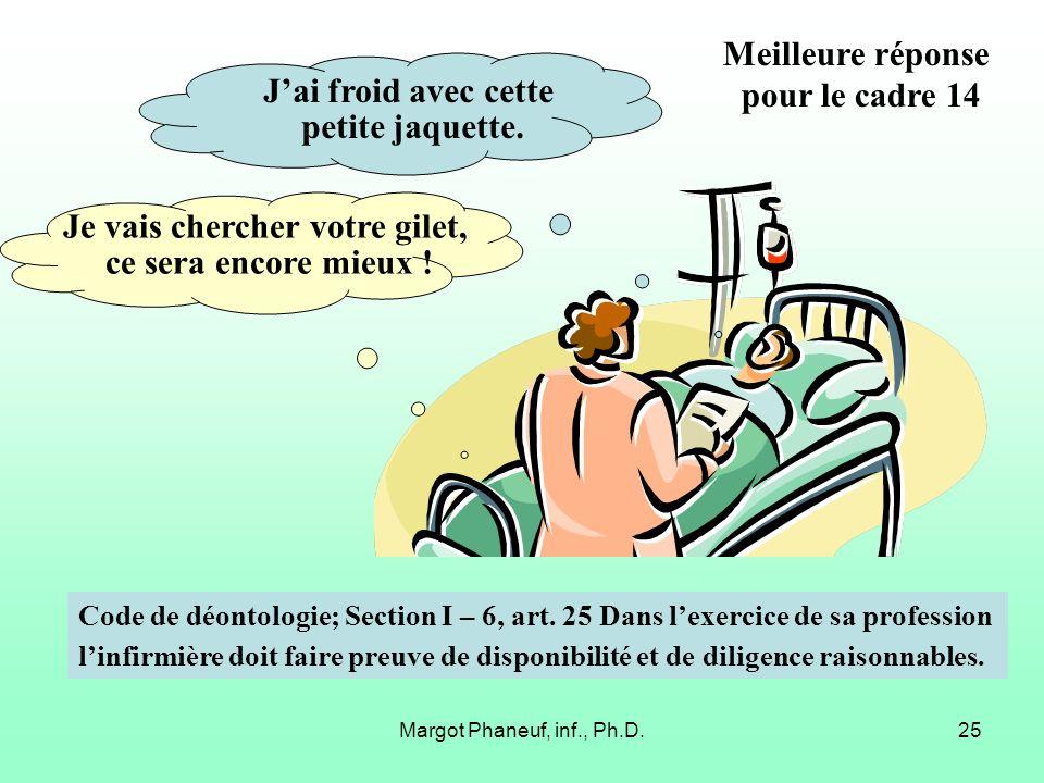 Margot Phaneuf, inf., Ph.D.25 Jai froid avec cette petite jaquette. Je vais chercher votre gilet, ce sera encore mieux ! Code de déontologie; Section