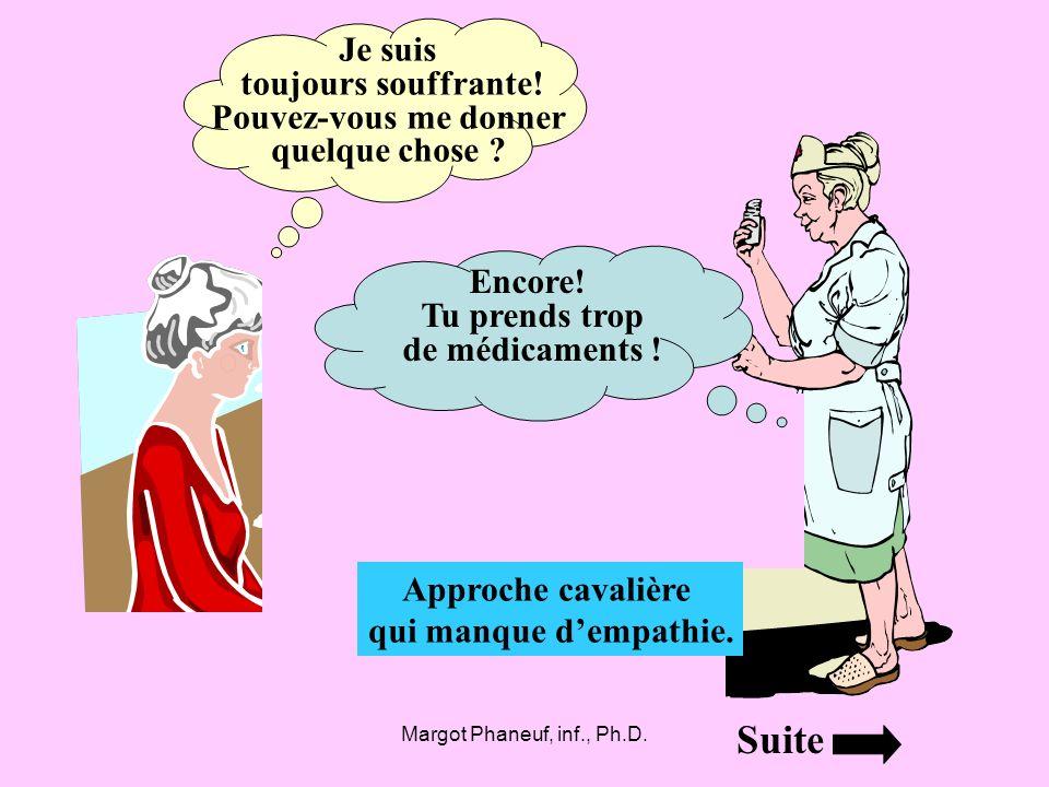 Margot Phaneuf, inf., Ph.D. Je suis toujours souffrante! Pouvez-vous me donner quelque chose ? Approche cavalière qui manque dempathie. Encore! Tu pre