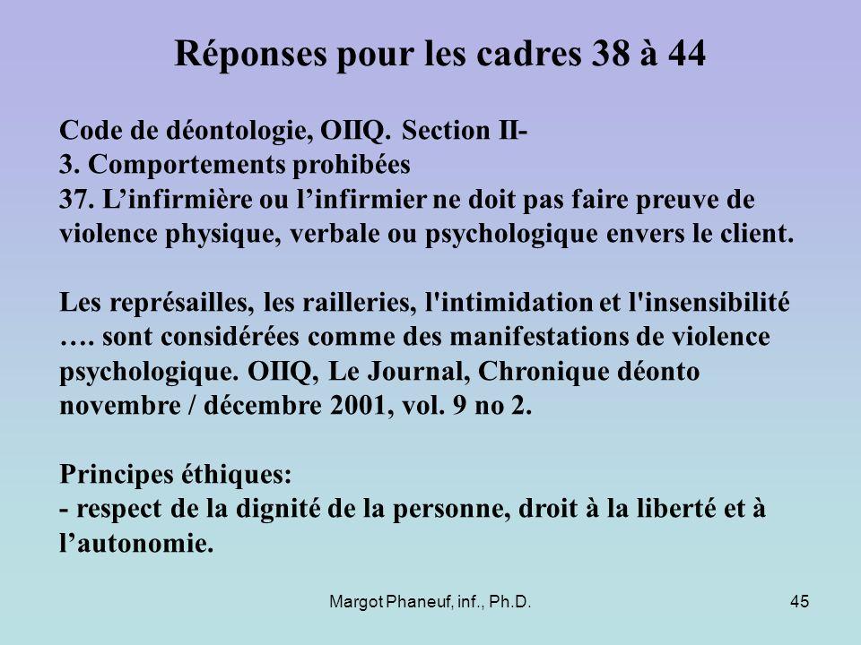 Margot Phaneuf, inf., Ph.D.45 Code de déontologie, OIIQ. Section II- 3. Comportements prohibées 37. Linfirmière ou linfirmier ne doit pas faire preuve