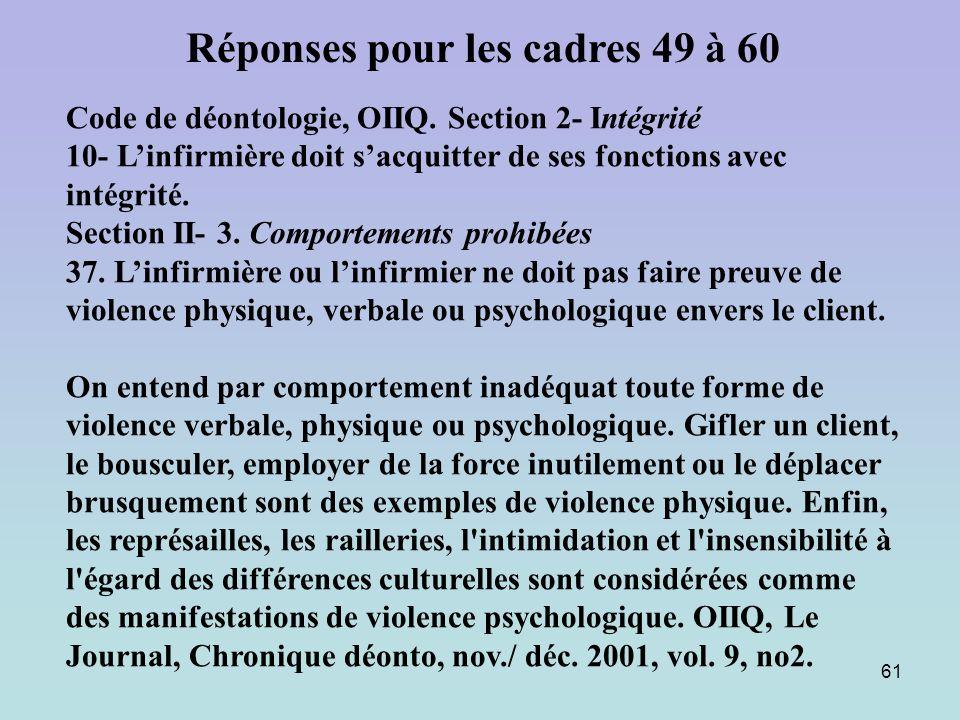 61 Code de déontologie, OIIQ. Section 2- Intégrité 10- Linfirmière doit sacquitter de ses fonctions avec intégrité. Section II- 3. Comportements prohi