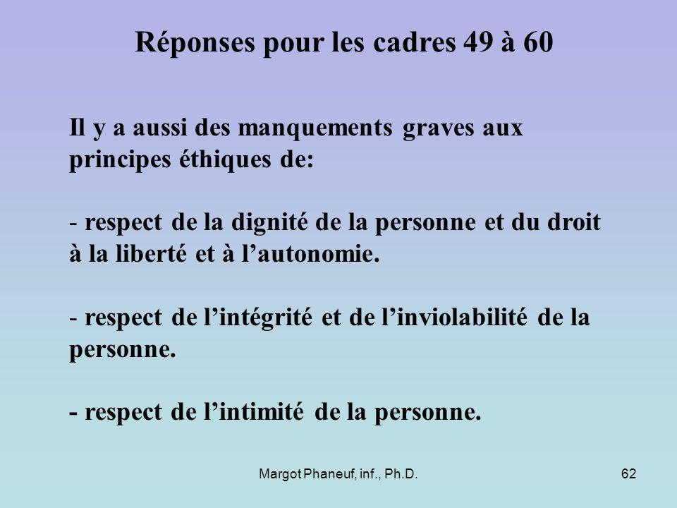 Margot Phaneuf, inf., Ph.D.62 Il y a aussi des manquements graves aux principes éthiques de: - respect de la dignité de la personne et du droit à la l