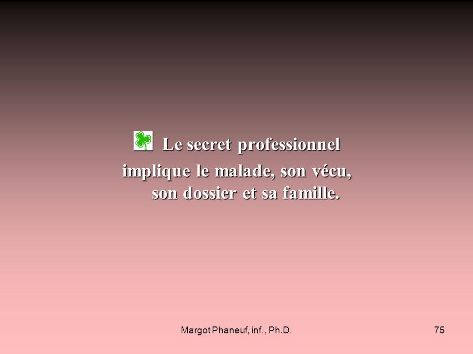 Margot Phaneuf, inf., Ph.D.75 Le secret professionnel Le secret professionnel implique le malade, son vécu, son dossier et sa famille.