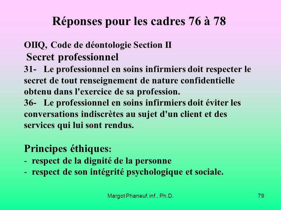 Margot Phaneuf, inf., Ph.D.79 Réponses pour les cadres 76 à 78 OIIQ, Code de déontologie Section II Secret professionnel 31- Le professionnel en soins