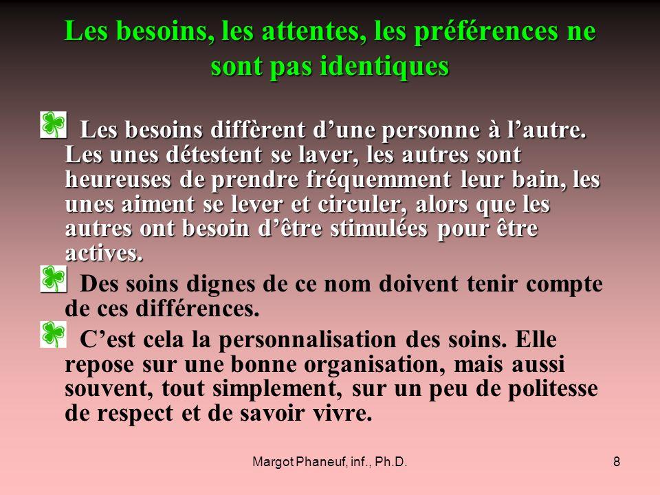 Margot Phaneuf, inf., Ph.D.8 Les besoins, les attentes, les préférences ne sont pas identiques Les besoins diffèrent dune personne à lautre. Les unes