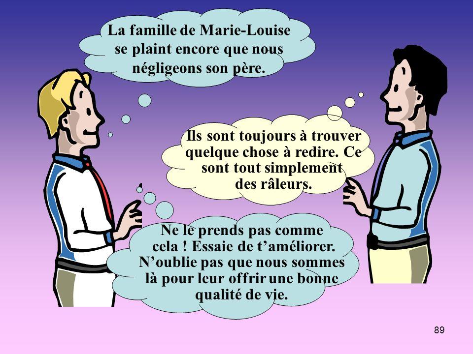 89 La famille de Marie-Louise se plaint encore que nous négligeons son père. Ils sont toujours à trouver quelque chose à redire. Ce sont tout simpleme