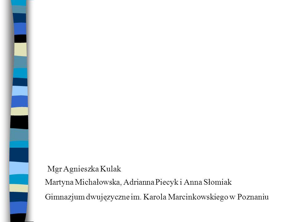 Martyna Michałowska, Adrianna Piecyk i Anna Słomiak Gimnazjum dwujęzyczne im. Karola Marcinkowskiego w Poznaniu Mgr Agnieszka Kulak