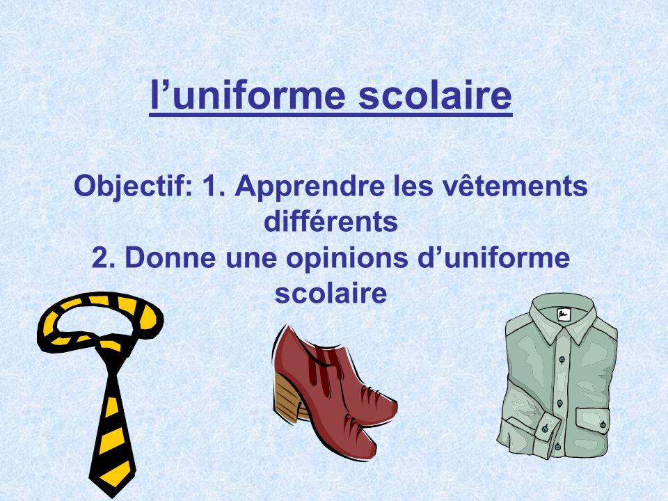 luniforme scolaire Objectif: 1.Apprendre les vêtements différents 2.