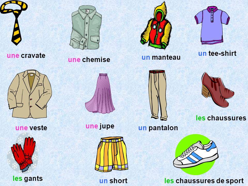 une cravate une chemise un manteau un tee-shirt une veste une jupe un pantalon les chaussures les gants un shortles chaussures de sport