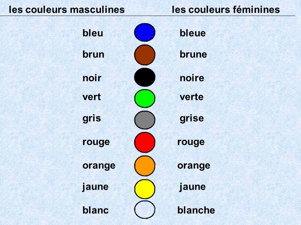 les couleurs masculines les couleurs féminines bleubleue brunbrune noirnoire vertverte grisgrise rouge orange jaune blancblanche