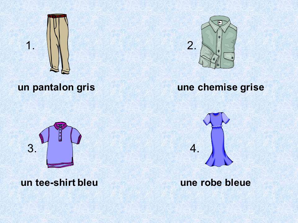 un pantalon grisune chemise grise un tee-shirt bleuune robe bleue 1. 2. 3. 4.