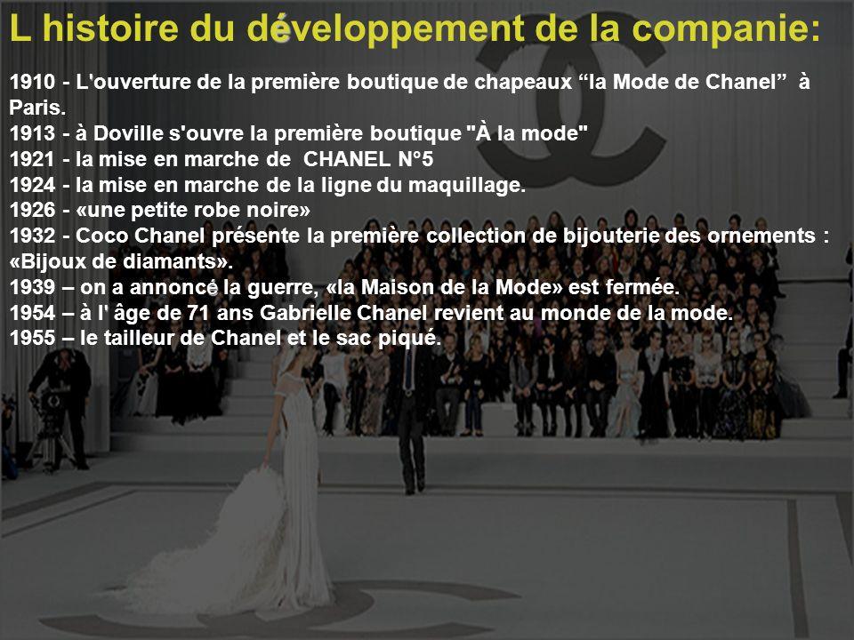 L histoire du développement de la companie: ' 1910 - L'ouverture de la première boutique de chapeaux la Mode de Chanel à Paris. 1913 - à Doville s'ouv