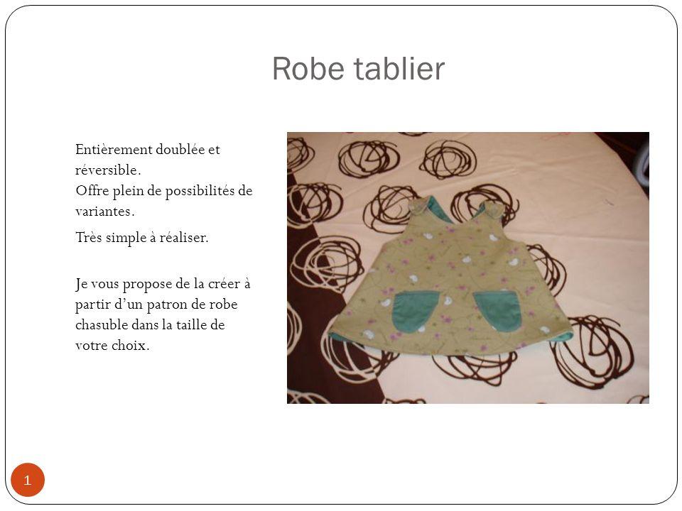 Robe tablier Entièrement doublée et réversible.Offre plein de possibilités de variantes.