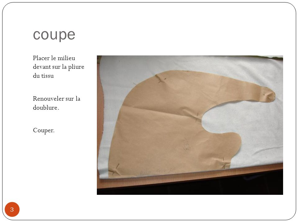 coupe Placer le milieu devant sur la pliure du tissu Renouveler sur la doublure. Couper. 3