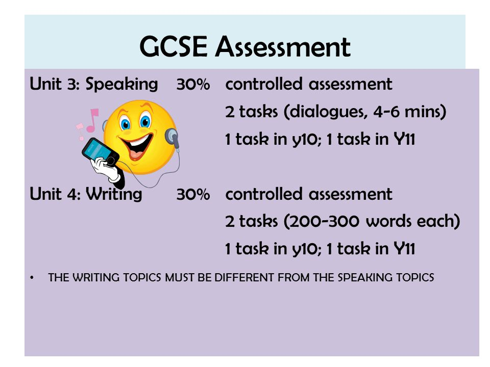 GCSE Assessment Unit 3: Speaking30%controlled assessment 2 tasks (dialogues, 4-6 mins) 1 task in y10; 1 task in Y11 Unit 4: Writing30%controlled asses