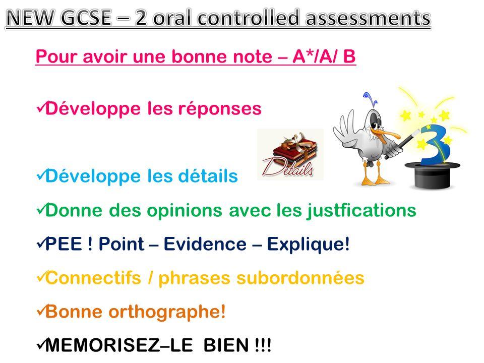 Pour avoir une bonne note – A*/A/ B Développe les réponses Développe les détails Donne des opinions avec les justfications PEE .