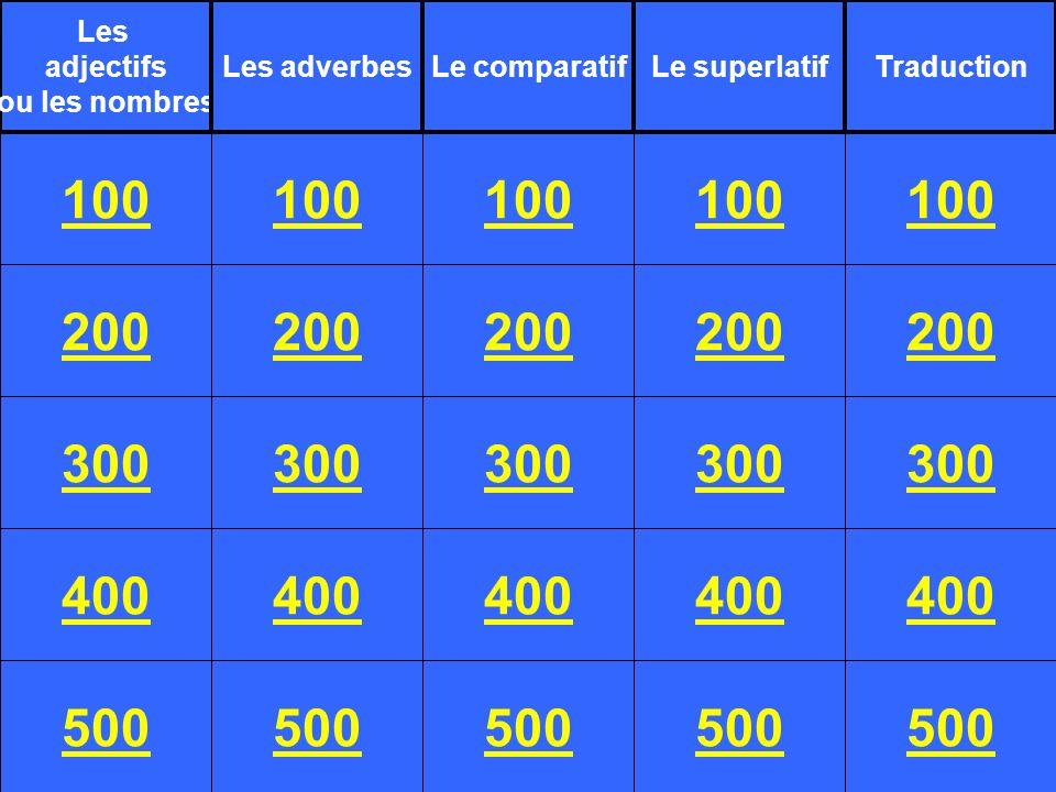 200 300 400 500 100 200 300 400 500 100 200 300 400 500 100 200 300 400 500 100 200 300 400 500 100 Les adjectifs ou les nombres Les adverbesLe comparatifLe superlatifTraduction