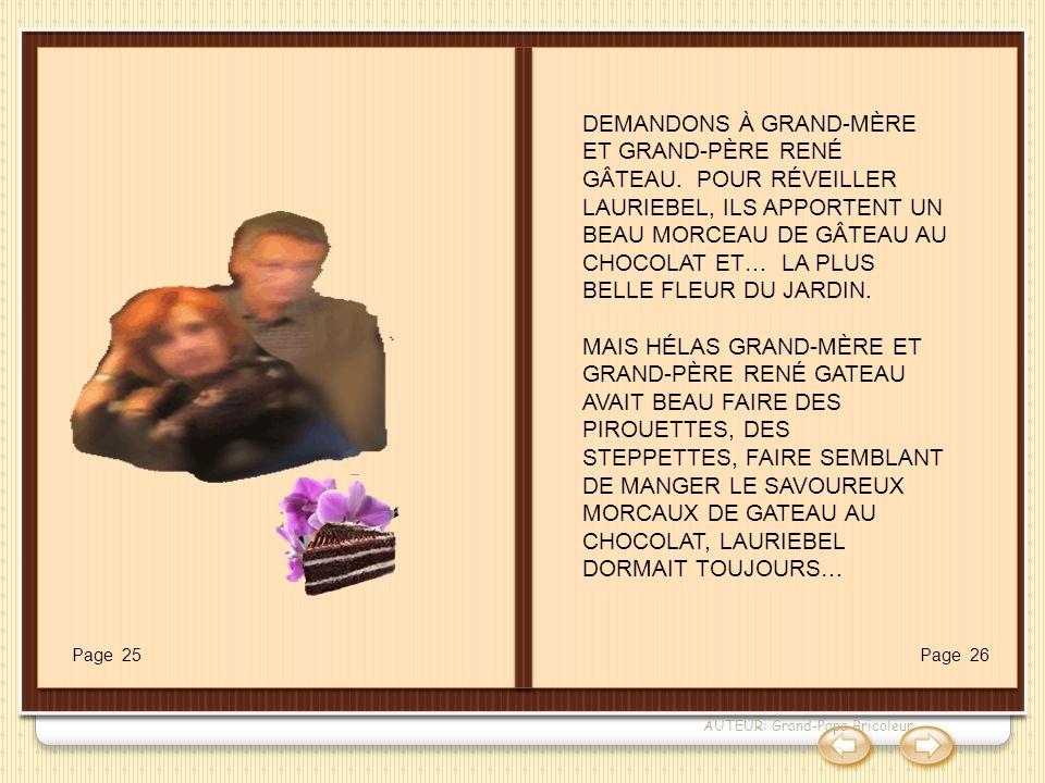 AUTEUR: Grand-Papa Bricoleur DEMANDONS À GRAND-MÈRE ET GRAND-PÈRE RENÉ GÂTEAU. POUR RÉVEILLER LAURIEBEL, ILS APPORTENT UN BEAU MORCEAU DE GÂTEAU AU CH
