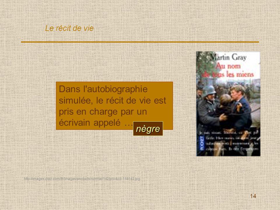 14 Dans l autobiographie simulée, le récit de vie est pris en charge par un écrivain appelé … nègre Le récit de vie http://images.ciao.com/ifr/images/products/normal/142/product-118142.jpg