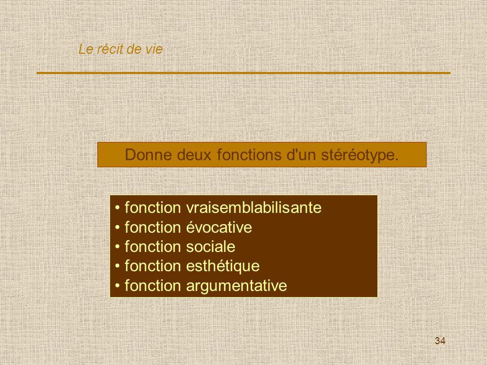 34 Donne deux fonctions d'un stéréotype. fonction vraisemblabilisante fonction évocative fonction sociale fonction esthétique fonction argumentative L