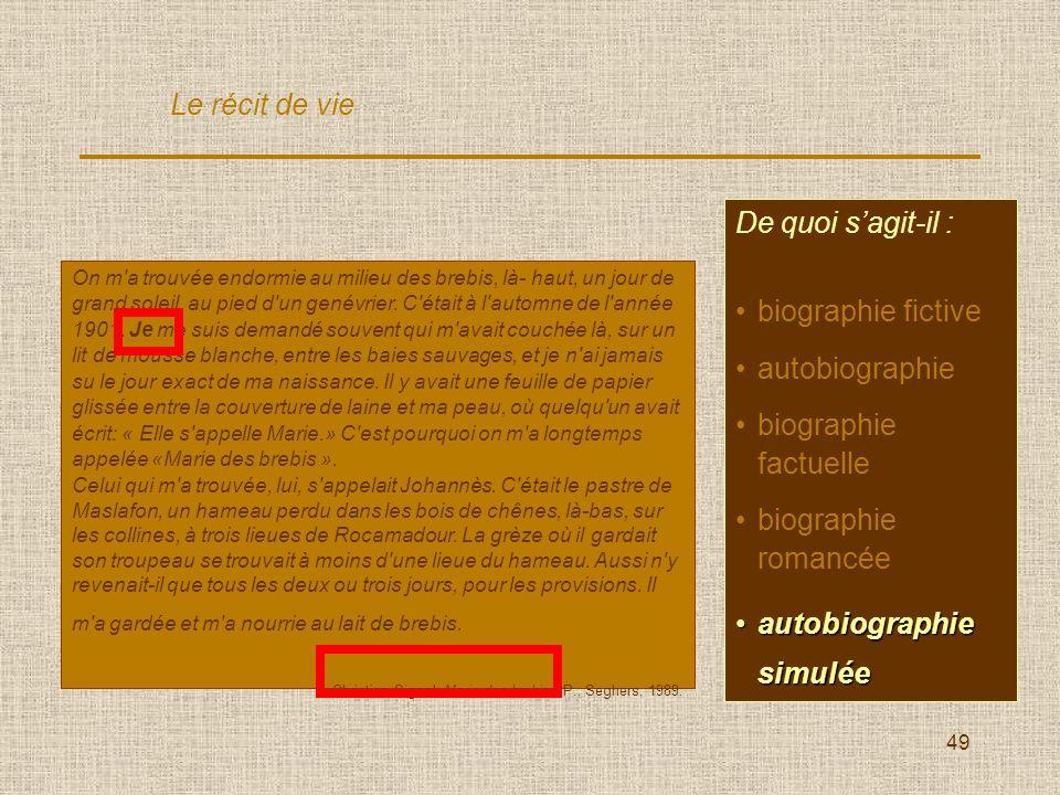 49 De quoi sagit-il : biographie fictive autobiographie biographie factuelle biographie romancée autobiographieautobiographie Le récit de vie On m'a t