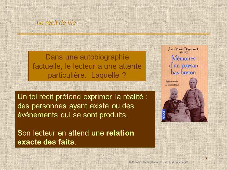 7 Dans une autobiographie factuelle, le lecteur a une attente particulière. Laquelle ? Un tel récit prétend exprimer la réalité : des personnes ayant