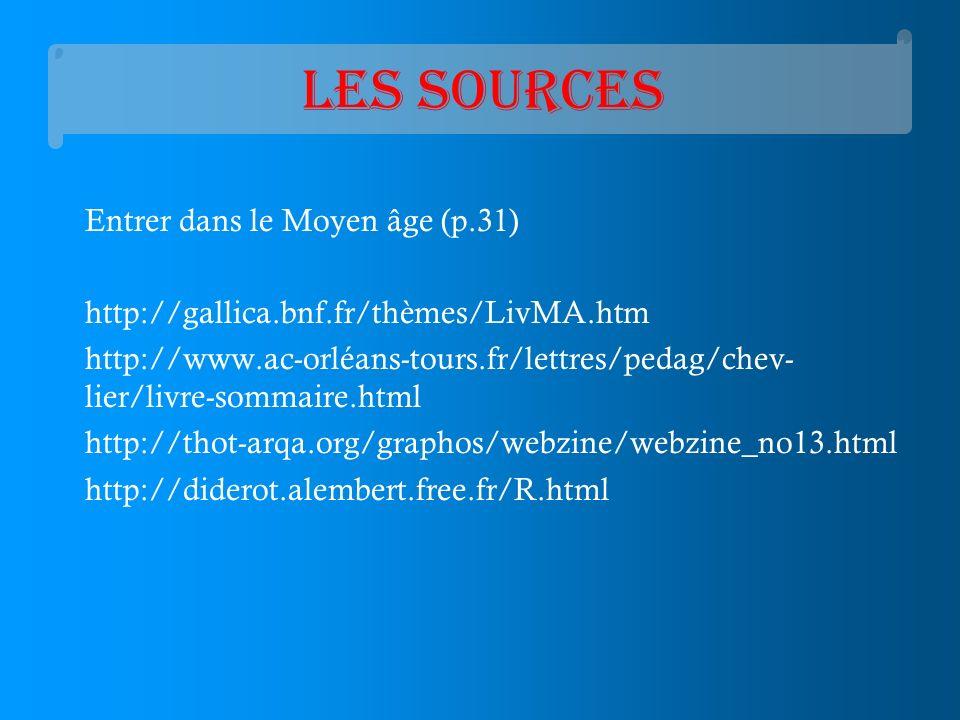 Les sources Entrer dans le Moyen âge (p.31) http://gallica.bnf.fr/thèmes/LivMA.htm http://www.ac-orléans-tours.fr/lettres/pedag/chev- lier/livre-somma