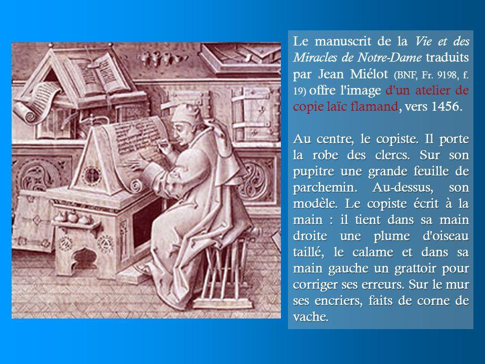 Le manuscrit de la Vie et des Miracles de Notre-Dame traduits par Jean Miélot (BNF, Fr. 9198, f. 19) offre l'image d'un atelier de copie laïc flamand,