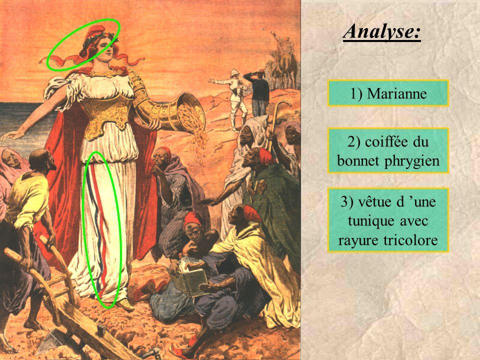 1) Marianne 2) coiffée du bonnet phrygien 3) vêtue d une tunique avec rayure tricolore Analyse: