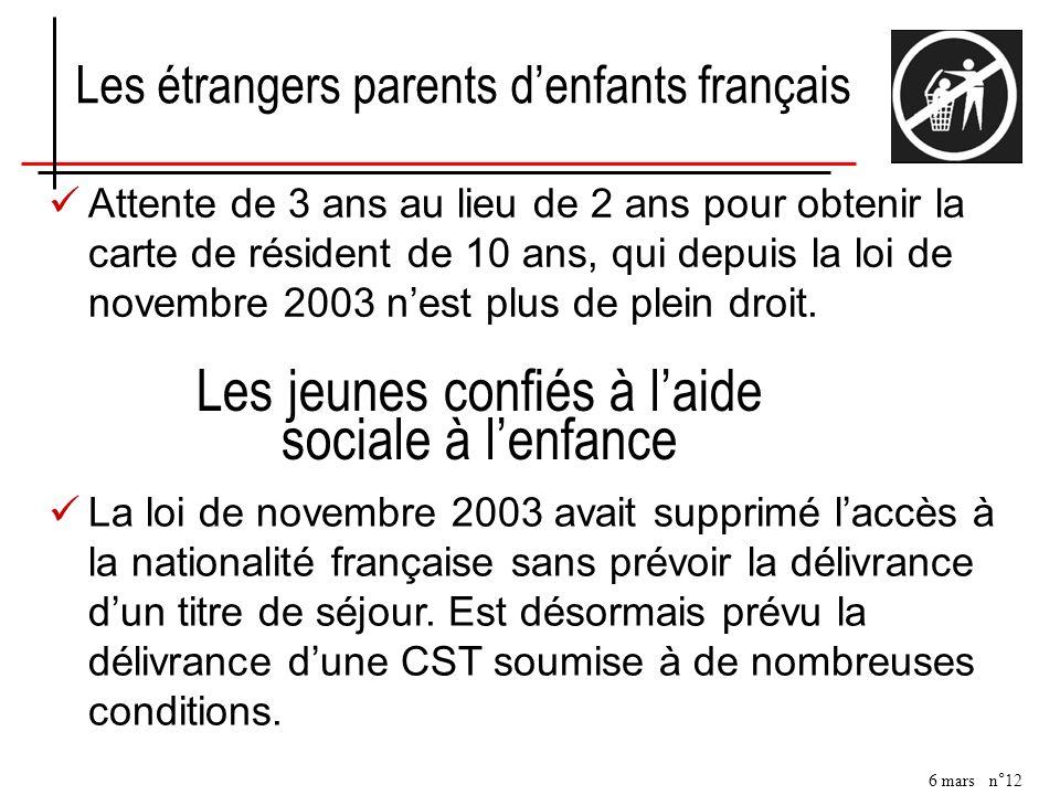 6 mars n°12 Attente de 3 ans au lieu de 2 ans pour obtenir la carte de résident de 10 ans, qui depuis la loi de novembre 2003 nest plus de plein droit