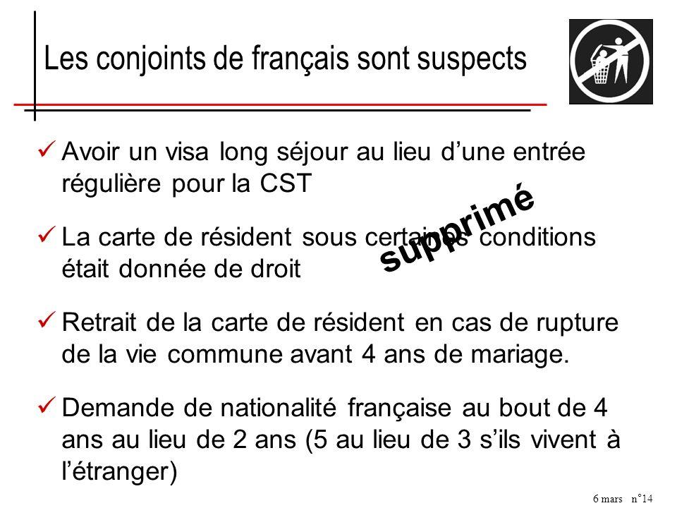 6 mars n°14 Les conjoints de français sont suspects Avoir un visa long séjour au lieu dune entrée régulière pour la CST La carte de résident sous cert