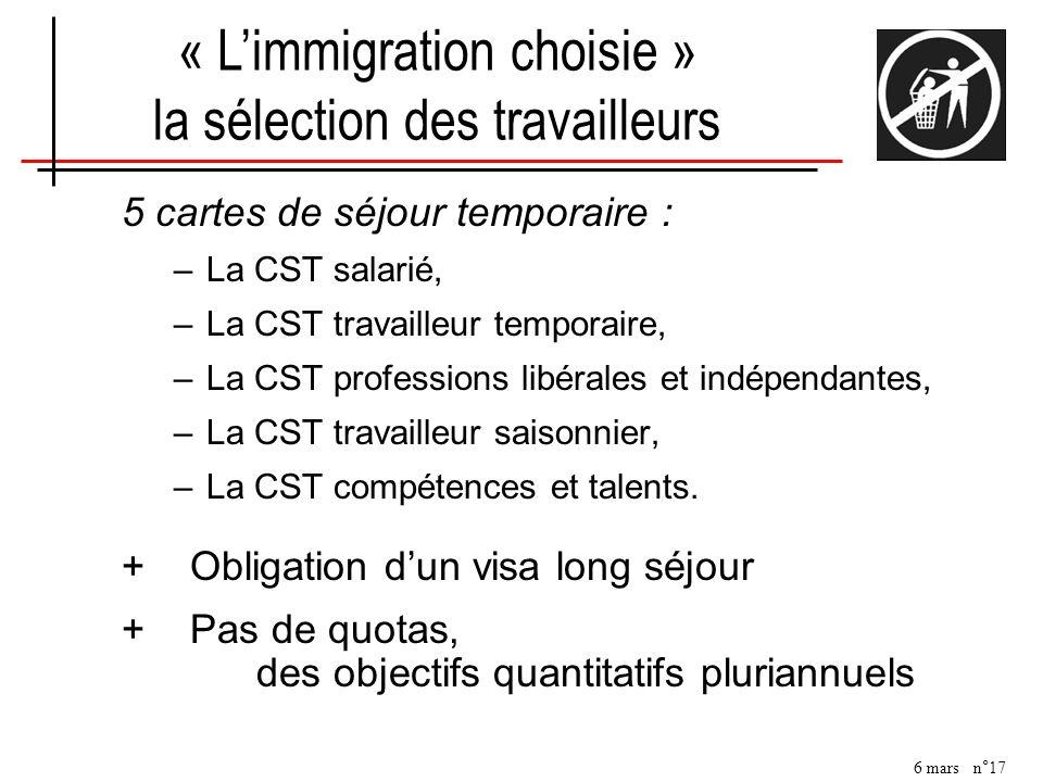 6 mars n°17 5 cartes de séjour temporaire : –La CST salarié, –La CST travailleur temporaire, –La CST professions libérales et indépendantes, –La CST t