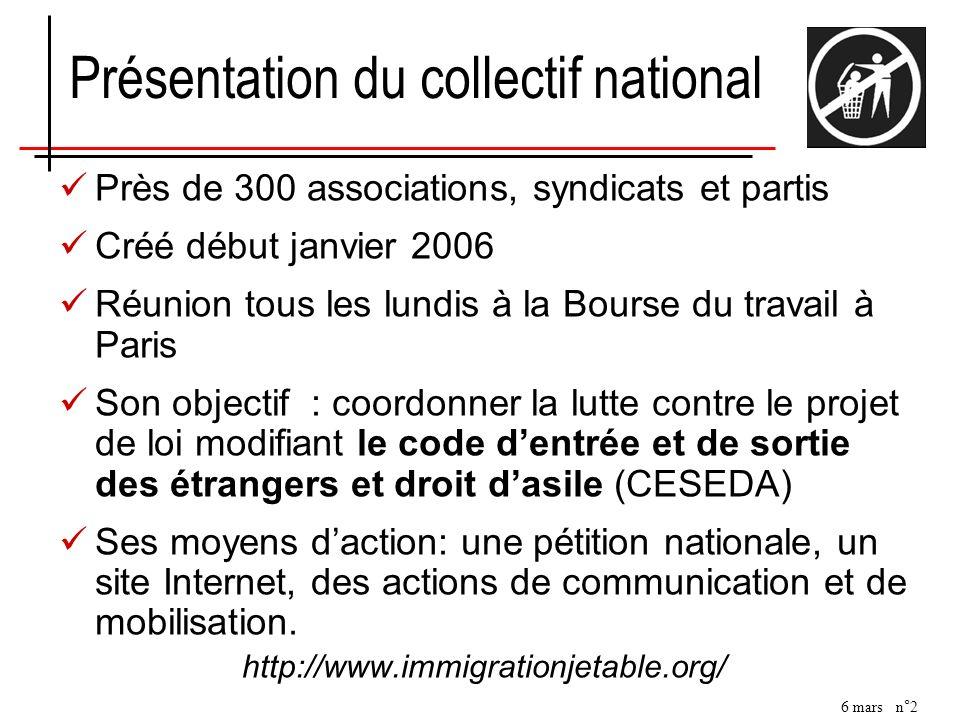 6 mars n°2 Présentation du collectif national Près de 300 associations, syndicats et partis Créé début janvier 2006 Réunion tous les lundis à la Bours