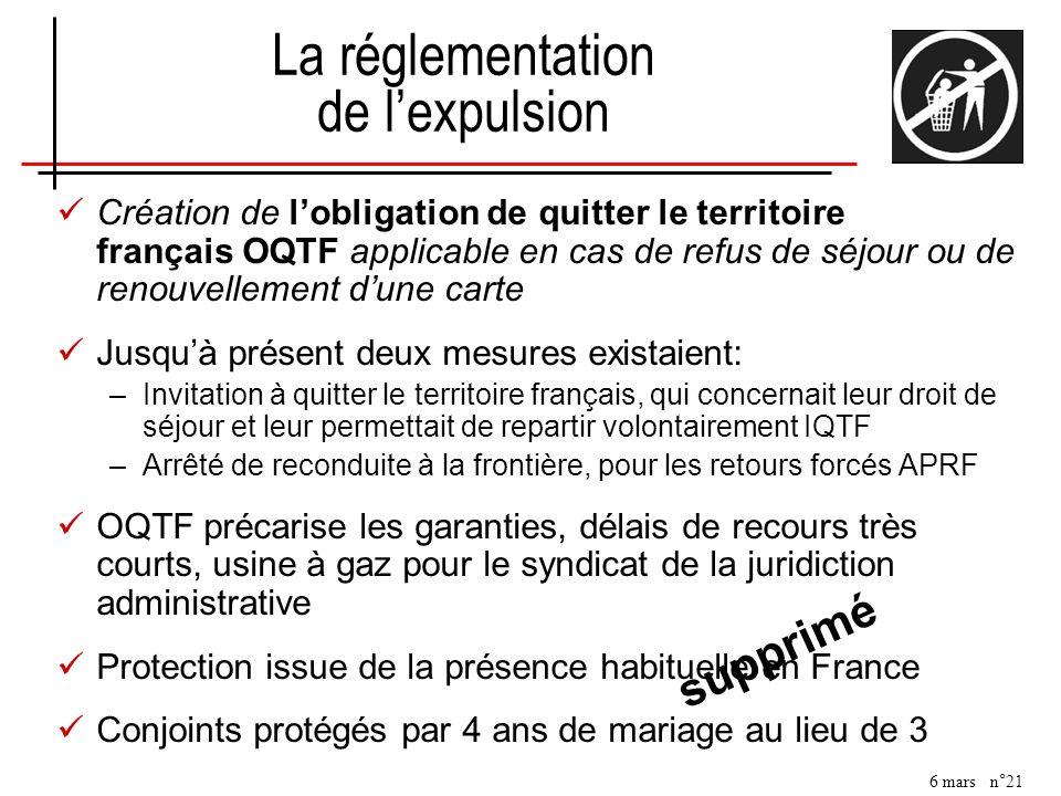 6 mars n°21 Création de lobligation de quitter le territoire français OQTF applicable en cas de refus de séjour ou de renouvellement dune carte Jusquà