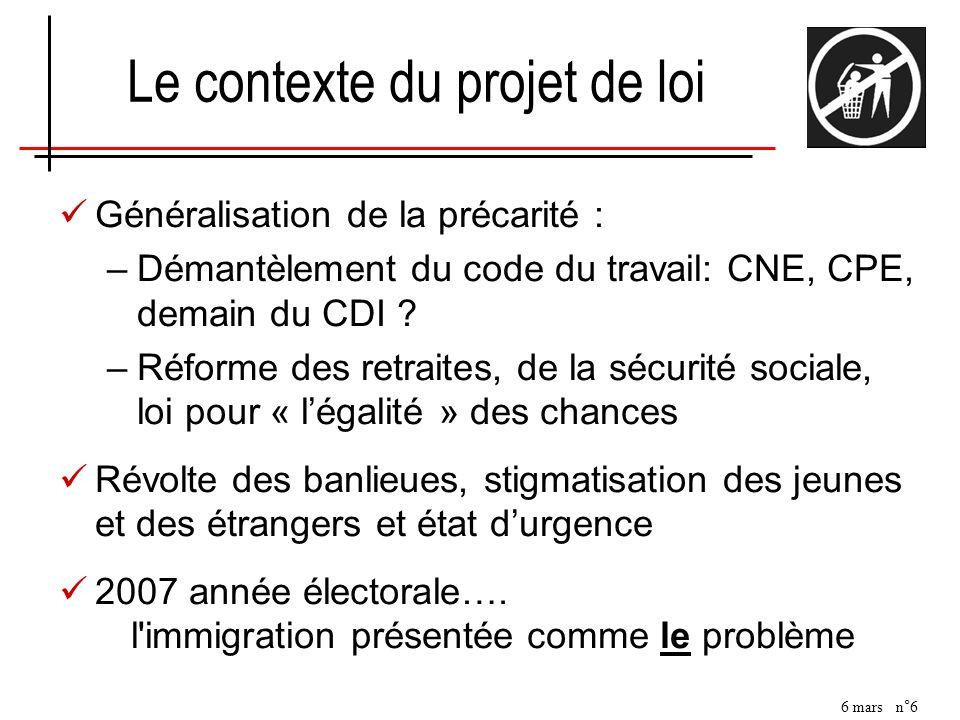 6 mars n°6 Le contexte du projet de loi Généralisation de la précarité : –Démantèlement du code du travail: CNE, CPE, demain du CDI ? –Réforme des ret