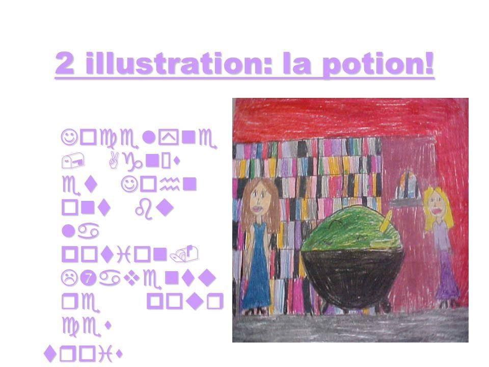 2 illustration: la potion.Jocelyne, Agnès et John ont bu la potion.
