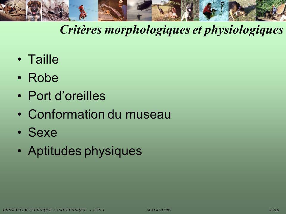 Critères morphologiques et physiologiques Taille Robe Port doreilles Conformation du museau Sexe Aptitudes physiques CONSEILLER TECHNIQUE CYNOTECHNIQU