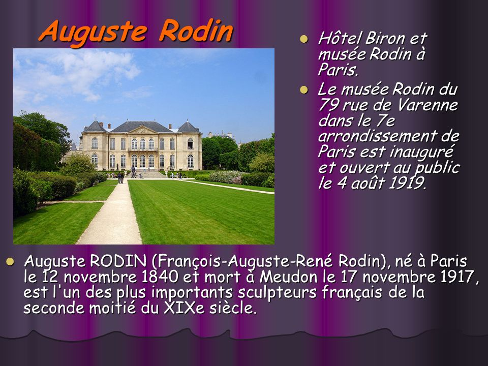 SCULPTEURS FRANÇAIS (1840-1917) Auguste Rodin (1840-1917) Leçon