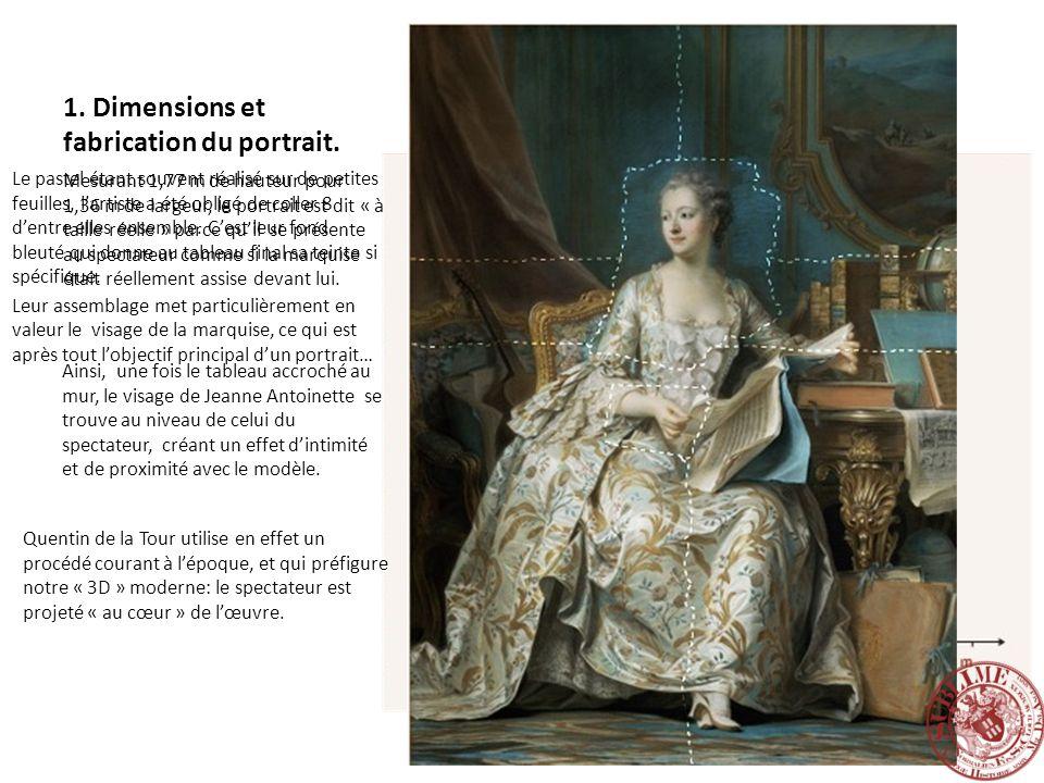 1. Dimensions et fabrication du portrait. Mesurant 1,77 m de hauteur pour 1,36 m de largeur, le portrait est dit « à taille réelle » parce quil se pré