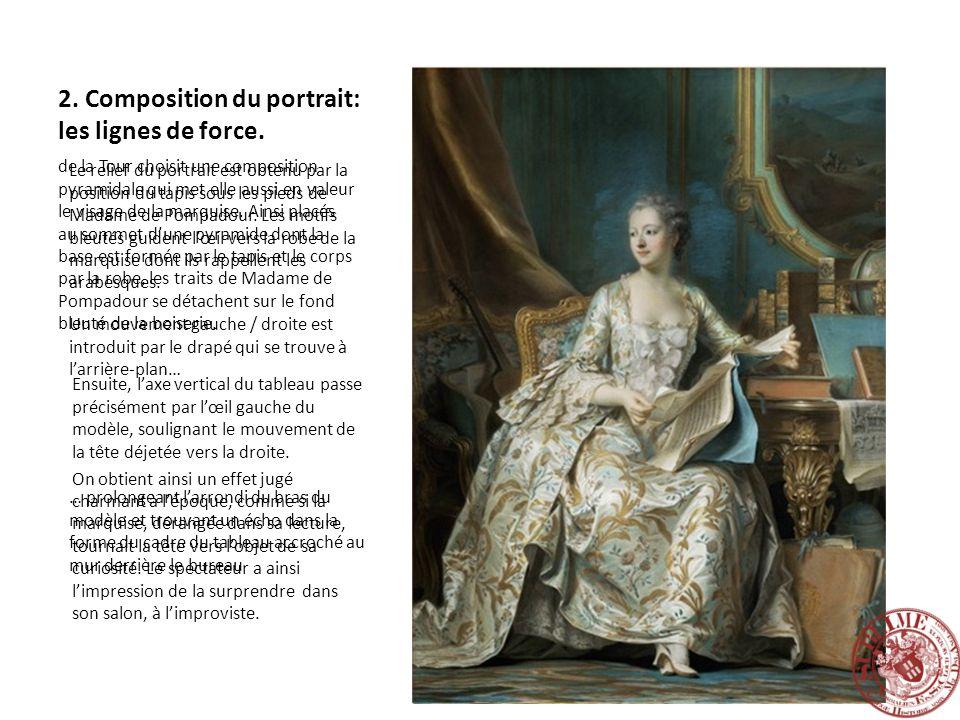 2. Composition du portrait: les lignes de force. de la Tour choisit une composition pyramidale qui met elle aussi en valeur le visage de la marquise.
