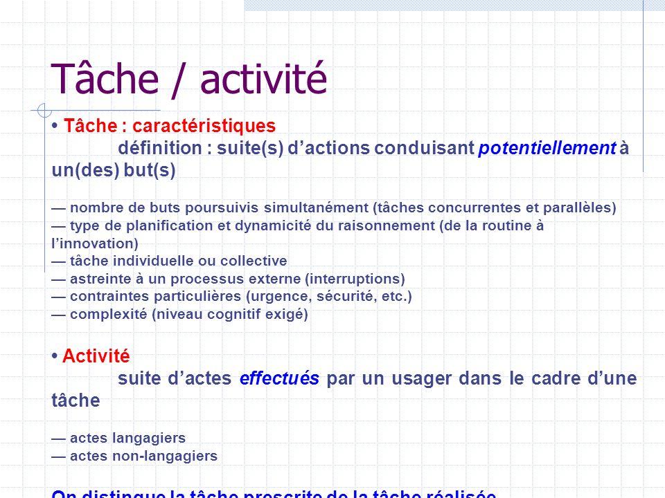 Tâche / activité Tâche : caractéristiques définition : suite(s) dactions conduisant potentiellement à un(des) but(s) nombre de buts poursuivis simulta