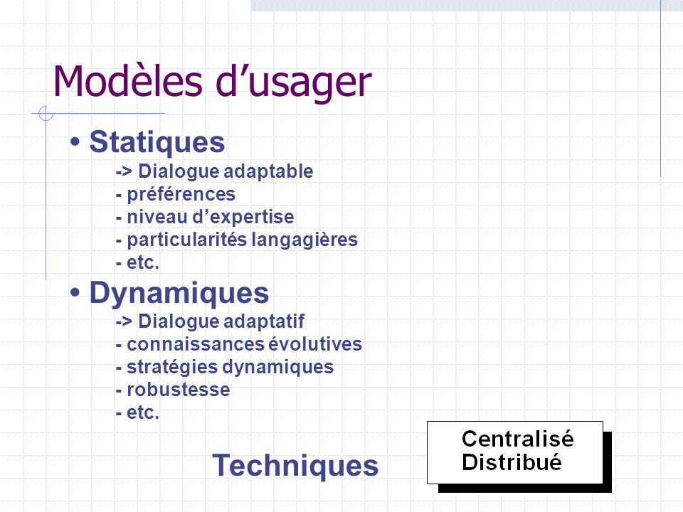 Modèles dusager Statiques -> Dialogue adaptable - préférences - niveau dexpertise - particularités langagières - etc. Dynamiques -> Dialogue adaptatif